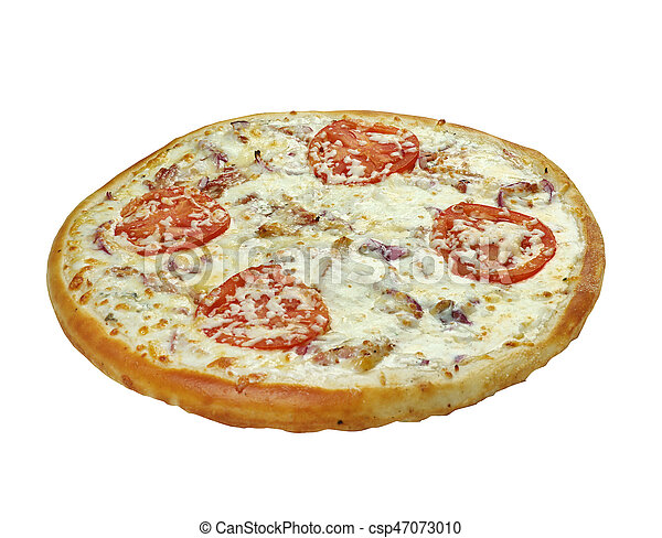 Pizza with mozzarella, chedar and tomatoes. - csp47073010