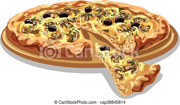 pizza with mushrooms and cheese - csp38845814