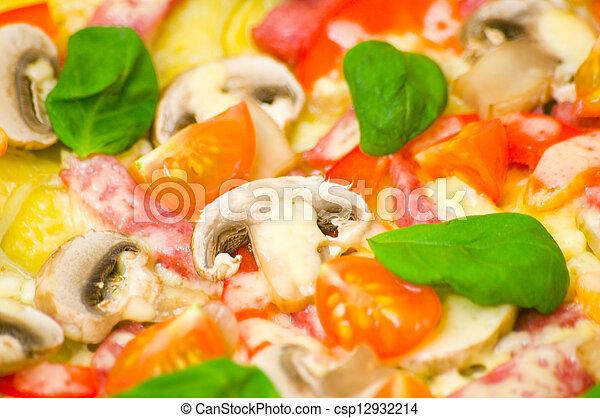 pizza with mushrooms - csp12932214