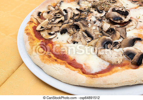 Pizza with mushrooms - csp64891512