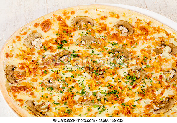 Pizza with mushrooms - csp66129282