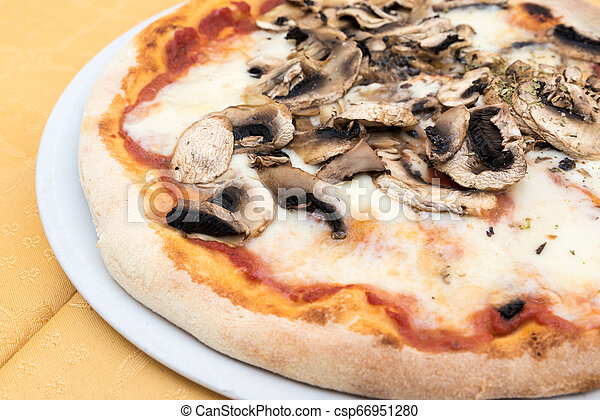 Pizza with mushrooms - csp66951280