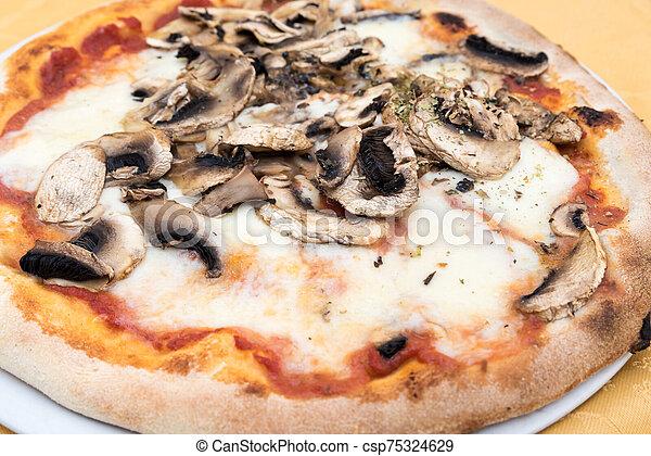 Pizza with mushrooms - csp75324629
