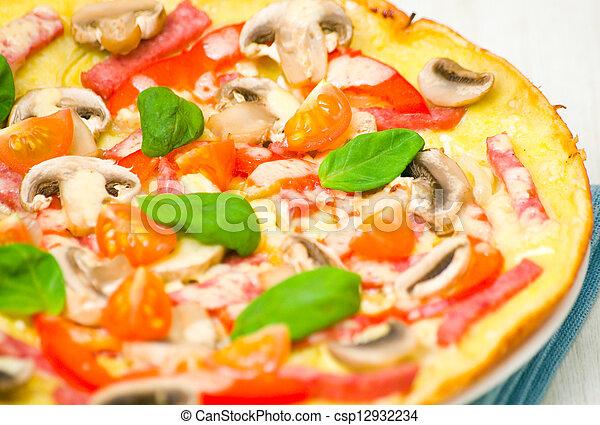 pizza with mushrooms - csp12932234
