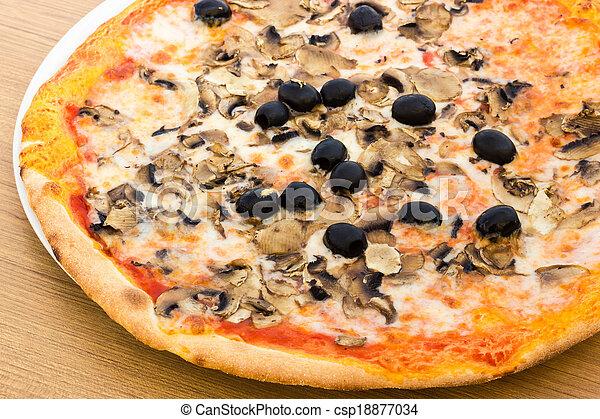 Pizza with mushrooms - csp18877034