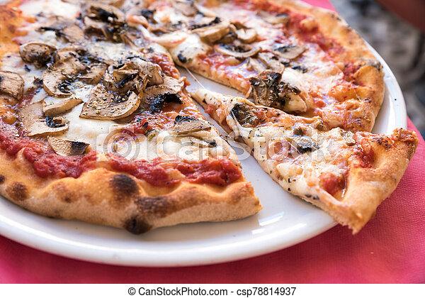 Pizza with mushrooms - csp78814937