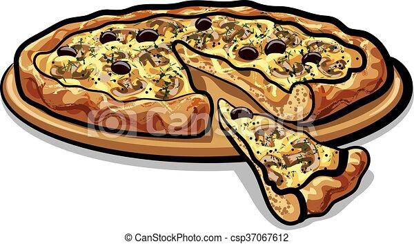 pizza with mushrooms - csp37067612