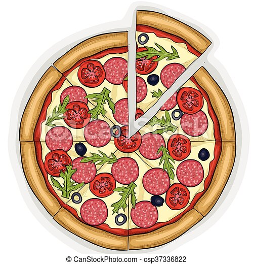Pizza with salami color picture sticker - csp37336822