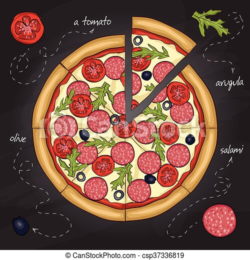 Pizza with salami color picture sticker - csp37336819