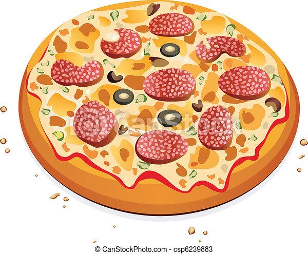 pizza with salami - csp6239883