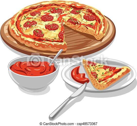 pizza with tomato sauce - csp48573367