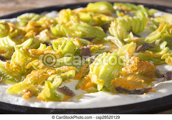 pizza with zucchini flowers - csp28520129