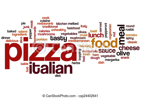 Drawing Of Pizza Word Cloud Concept With Italian Food Related Tags