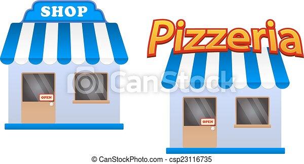 Tienda de dibujos y iconos de pizzería - csp23116735