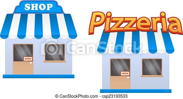 Tienda de dibujos y iconos de pizzería - csp23193533