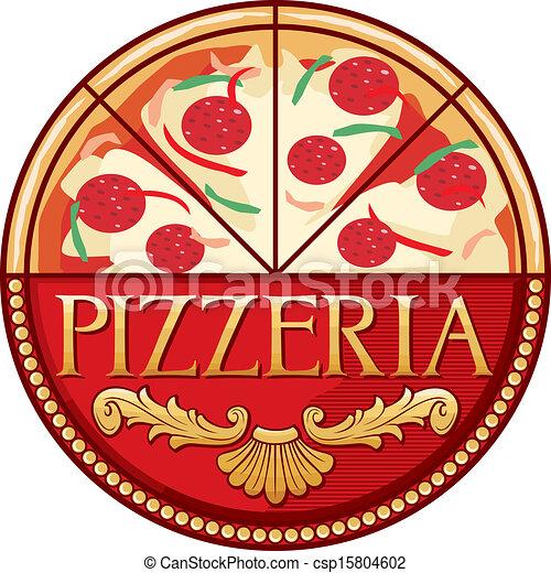 pizzeria, design, etikett - csp15804602