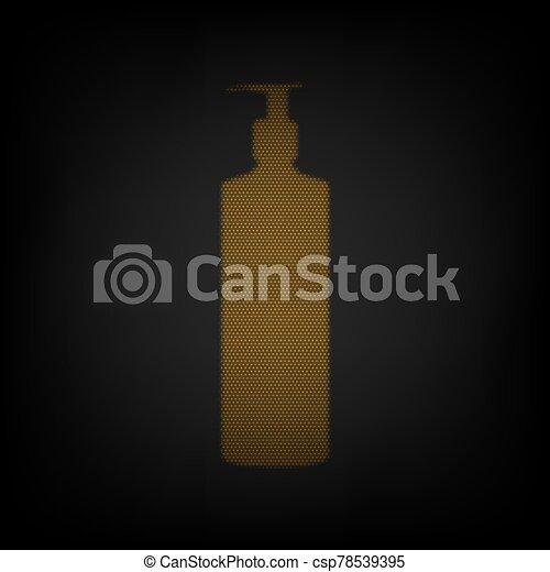 plástico, bomba, bombilla, espuma, gel, líquido, illustration., bottle., soap., pequeño, cuadrícula, dosificador, luz, naranja, darkness., icono - csp78539395
