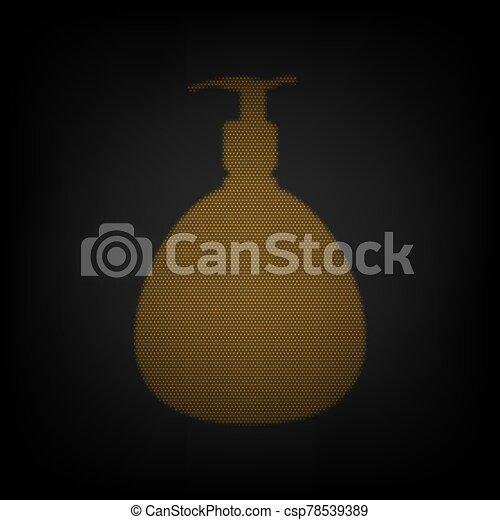 plástico, bomba, bombilla, espuma, gel, líquido, illustration., bottle., soap., pequeño, cuadrícula, dosificador, luz, naranja, darkness., icono - csp78539389