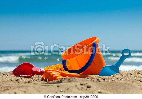 plástico, brinquedos praia - csp3913009