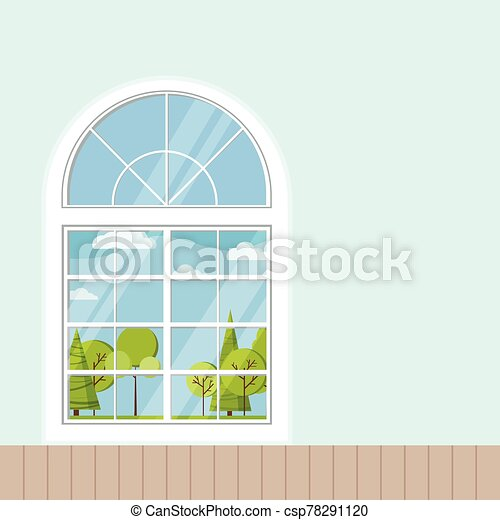 plástico, de madera, francés, plano, habitación, panorámico, blanco, marco ventana, caricatura, o, style. - csp78291120