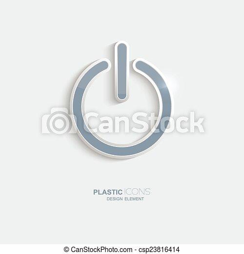 plástico, símbolo., poder, ícone - csp23816414