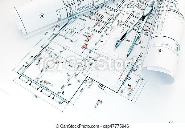 Pläne, architekten, projekt, arbeitsplatz, kompaß, zeichnung. Pläne ...
