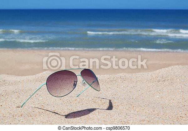 plaża., seascape., okulary - csp9806570