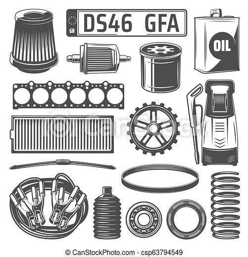 Autos de repuesto y lata de aceite, iconos de matrícula número - csp63794549