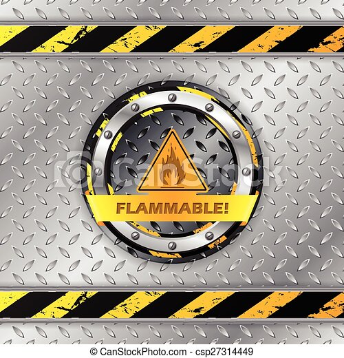 Señal de aviso inflamable en placa metálica - csp27314449