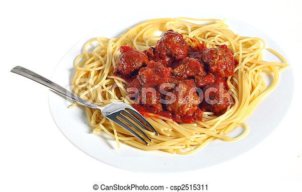 Plato de espagueti con albóndigas - csp2515311