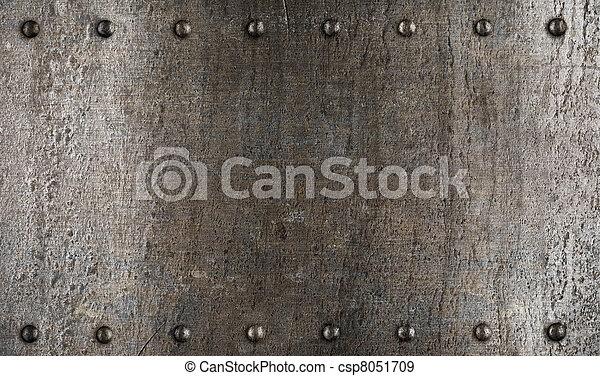 Placa de metal o textura de armadura con remaches - csp8051709