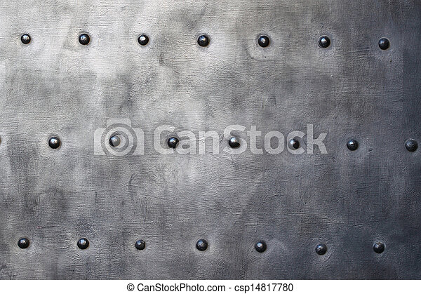 Placa de metal negro o textura blindada con remaches - csp14817780