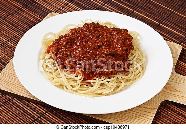placa, bolognese, espaguetis - csp10438971