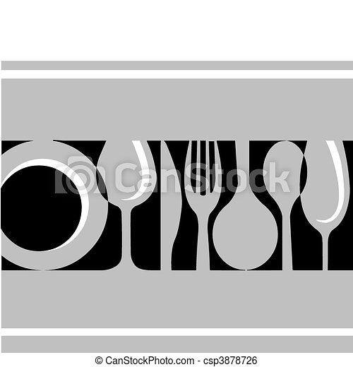 Tabla gris: tenedor, cuchillo, placa y vidrio - csp3878726
