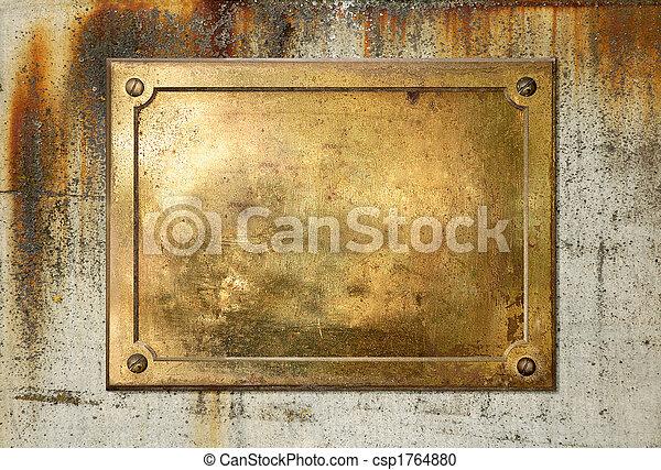 placa, latón, frontera, metal, amarillo - csp1764880