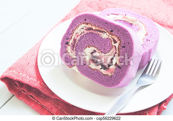 placa, pasteles, arriba, rollo, cierre, blanco, arándano - csp56229622