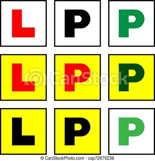Placa de aprendizaje L y placa provisional P, I-plate, p-plate, nueva pegatina de conductor - csp72676236