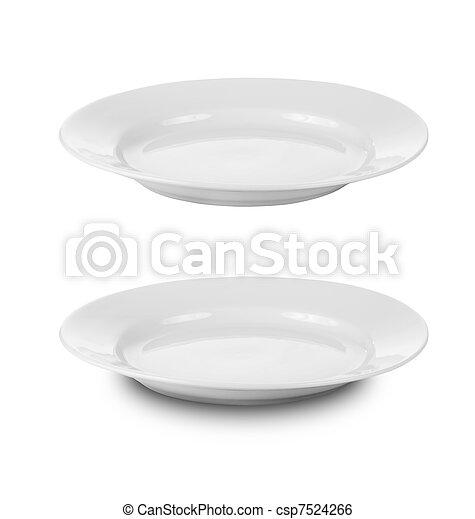 Placa redonda o platos aislados en blanco con el camino de recorte incluido - csp7524266