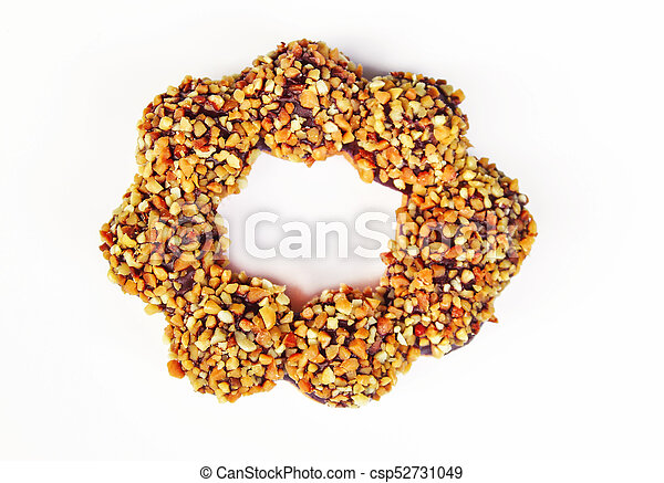 placa, rosquilla, fondo blanco, chocolate - csp52731049