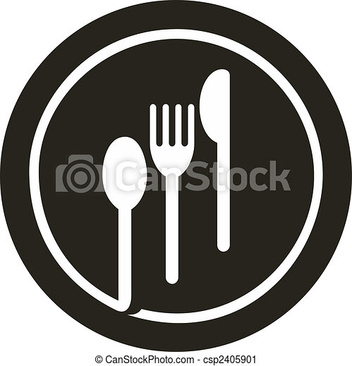 Plata con tenedor, cuchillo y cuchara encima - csp2405901