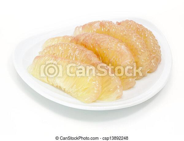 Fruta en el plato blanco - csp13892248
