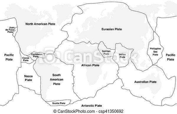 Nombres de placas tectónicas - csp41350692