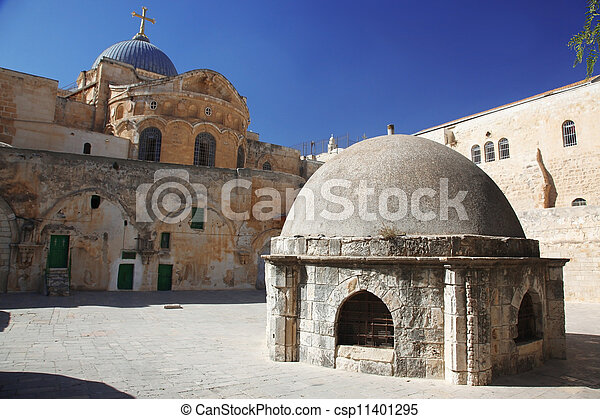 Place at Dome on the Church of the Holy Sepulchre in Jerusalem - csp11401295