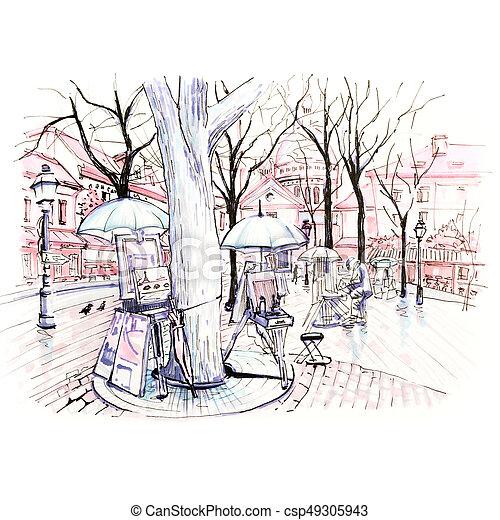 Place du Tertre on Montmartre, Paris, France - csp49305943