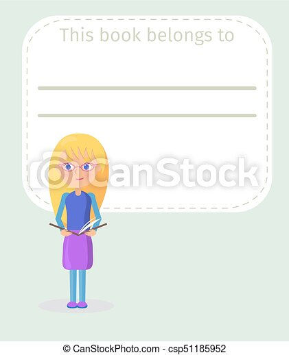 Place for Book Signing with Girl Illustration - csp51185952