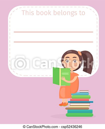 Place for Book Signing with Girl on Pile of Books - csp52436246