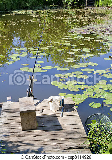 Place for fishing in a small rural pond - csp8114926