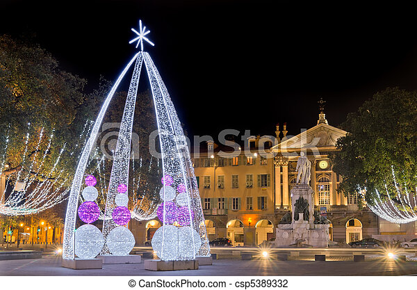 Place garibaldi, nice,france. Christmas decoration in place ...