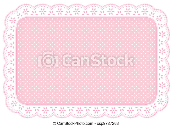 Place Mat Pink Polka Dot Lace Doily - csp9727283