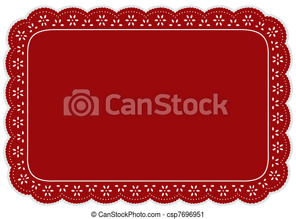 Place Mat, Red Eyelet Lace - csp7696951